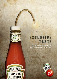 Heinz - Explosive taste by Luca Torresan, via Behance Ketchup, Behance, Ads, Bottle, Drinks, Creative Advertising, Stained Glass Windows, Tents, Creativity