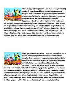 "Imagination Stories Powercard Social Story - Created for a student who talks about things that ""happened to him"" that are not necessarily true. Quick, simple, to the point social story card. Two per page to print and laminate - keep one at school and send one home for parents to review with student at home.  - Pinned by @PediaStaff – Please Visit  ht.ly/63sNt for all our pediatric therapy pins"