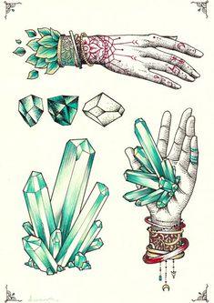 Crystal Hands Cutting Board by dwam Illustration Cristal, Illustration Art, Inspiration Art, Art Inspo, Tattoo Drawings, Art Drawings, Crystal Drawing, Crystal Tattoo, Hand Art