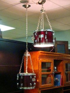 Suspended Lighting From Upcycled Pearl Drums - All For Decoration
