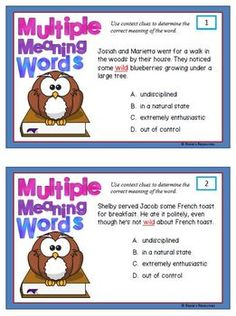 Multiple Meaning Words Task Cards2