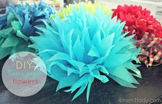 DIY tissue paper flowers. Love the step by step instructions. Great way to decorate for a women's ministry event. On tables, garland, hanging, on doors, lots of ways to use these!