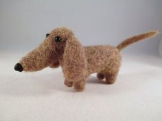 Say Hello to Digger!! He's just gone up for adopton!!Needle Felted Animal  Wool Dachshund Collectible by FlomopStudio!