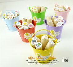FREE SHIP1LOT=6sets Pcs/Mix type korea stationery kwaii cute 2013 news designs wholesale Iron drum cartoon diary to seal $25.76