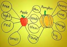 My First Grade Backpack: Pumpkin Anchor Charts. I like the venn diagram to compare apples and pumpkins Kindergarten Anchor Charts, Kindergarten Science, Describing Words, Thinking Maps, Apple Unit, First Grade Science, Classroom Activities, Classroom Ideas, Writing Activities