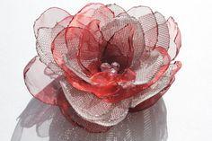 RED FABRIC FLOWER Handmade Fabric Flower Brooch Red by Gabiworks