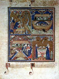 Genesis: Noah and the Ark 13th Century French Gothic New York, Pierpont Morgan Library Ms. Roxburne, folio 2v