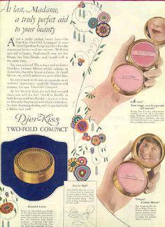 1924 Djer Kiss cosmetics compact vintage ad