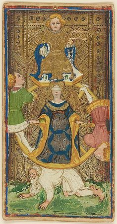 The Wheel of Fortune. From the Visconti-Sforza Tarot Cards, ca. 1450