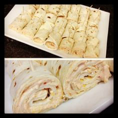 Tortilla Rollup! Delicious and Easy:  1 pkg fiesta ranch dip mix 1 cup sour cream 1 cup cream cheese 2 cups shredded cheese 10 inch tortillas (10 count)  Mix first four ingredients together, spread over tortillas, roll up, pin with toothpicks, cut and serve chilled!