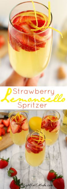 Move over mimosa, there's a new brunch cocktail in town! This sparkling, fresh drink features the Italian lemon liquor perfect with strawberries and Prosecco! #cocktaildrinks