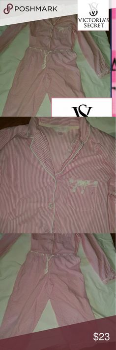 VIctoria's Secret striped jammies M Good pre love condition and the white ribbon is just so feminine. Top measures approx 16 inches shoulder to shoulder 19 under arms, and waist measures 15 inches on stretched Victoria's Secret Intimates & Sleepwear Pajamas