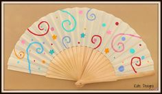 Party Bright Swirl Circle Flower Wooden Hand Fan Folding Wood Fabric Handheld Fan Hand Painted by Kate Dengra Made to Order by DengraDesigns on Etsy