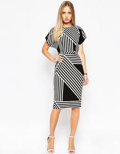 Image 1 ofASOS Soft Open Back Pencil Dress in Chevron Stripe