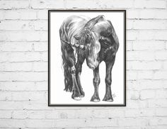 Art Print, Penciled unicorn horse. Trouble 8x10 print - pinned by pin4etsy.com