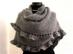 Grey Mohair Frilled, Ruffled Shawl with Black Border, Express Delivery. $145.00, via Etsy.