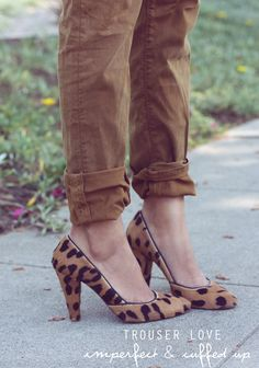 beat-up, cuffed trousers + leopard heels. Leopard Print Shoes, Leopard Heels, Sincerely Jules, Shoe Boots, Shoe Bag, Style Me, How To Wear, Cuffed Jeans, Brown Leopard