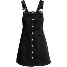 Denim Bib Overall Dress $34.99 (46 CAD) ❤ liked on Polyvore featuring dresses, h&m, denim short overalls, denim button dress, button dress, denim dress and short overalls