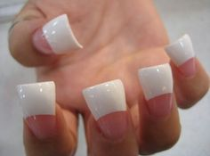 Classy wide tip pink and white nails
