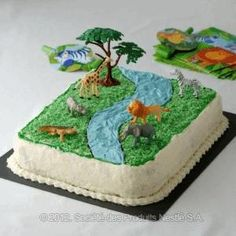 Jungle Cake Brown Icing like the last would make this very nice looking. I like sheet cakes a lot!(8