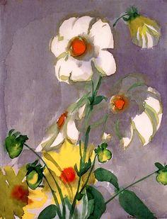 Dahlias on a Purple Background Emil Nolde