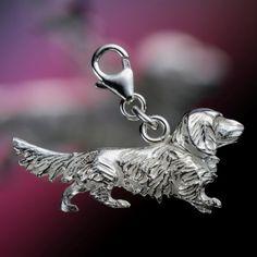 Langhaardackel - Charm aus Silber, glänzend poliert