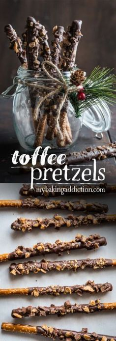 Are you looking for a last minute treat or homemade gift that everyone will love? Toffee Pretzels are IT. You need just three ingredients, and a festive jar or bags - that's it! (Last Minutes Gifts) Christmas Sweets, Christmas Candy, Christmas Goodies, Diy Christmas, Christmas Pretzels, Christmas Drinks, Oreo Dessert, Holiday Treats, Holiday Recipes
