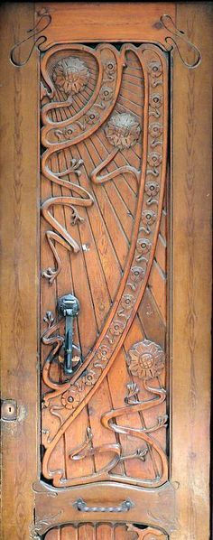 Art Nouveau Wood Door.