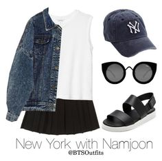 """New York with Namjoon"" by btsoutfits ❤ liked on Polyvore featuring Monki, Lucky Brand, Vince and Quay"