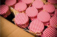 Jam favors  Use gingham cupcake papers for lids in red as shown and blue