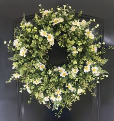 Spring Wreath - Mother's Day Wreath - Front Door Wreaths - Summer Wreath - Boxwood Wreath Wildflower Wreath - Eucalyptus Wreath - Farmhouse by GraceMonroeHome on Etsy https://www.etsy.com/listing/510714414/spring-wreath-mothers-day-wreath-front