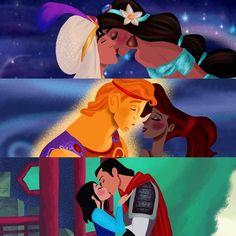 Disney couples: Aladdin and Jasmine, Hercules and Megara, Mulan and Shang.