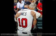 Chipper Jones embracing his mother upon his retirement.