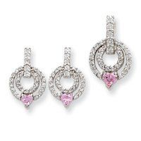 Sterling Silver Pink & Clear CZ Earrings And Pendant Set West Coast Jewelry. $103.95. Save 26% Off!