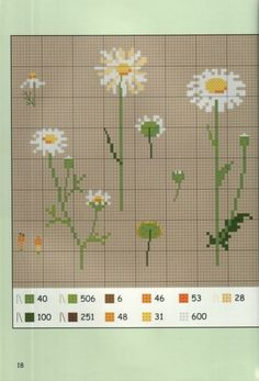 Daisies 2 of 3 Cross Stitch Numbers, Just Cross Stitch, Cross Stitch Needles, Cross Stitch Flowers, Cross Stitch Charts, Cross Stitch Designs, Cross Stitch Patterns, Quilt Stitching, Cross Stitching