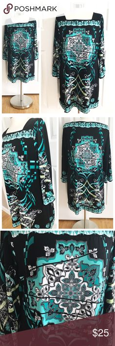 Style & Co Black Dress Teal Green Design Longsleeve black dress with pretty design in white teal turquoise aqua blue and lime green. Stretch to fabric. 95% polyester 5% spandex. Style and Co brand Macys size XL. Great with tights and boots or just with flats! Dresses