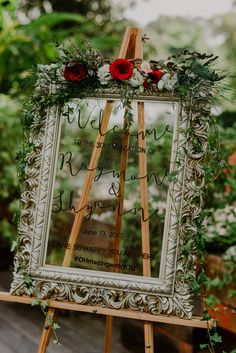 Gorgeous glass wedding welcome sign. See the rest of Shyanne and Raymond's beautiful, organic wedding on SingaporeBrides. Welcome To The Party, Wedding Welcome Signs, Wedding Signs, Party Signs, Happily Ever After, Garden Wedding, Ladder Decor, Real Weddings, Personality