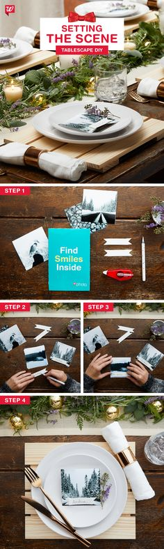 Make a delicious gathering even more memorable with a DIY photo placard (featuring dreamy winter landscapes!) they'll want to take home and treasure. Warm flatware, glowing candles and natural accents (like fragrant sage, rosemary and lavender) make everyone want to pull up a seat.