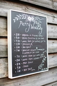 Order of The Day Chalkboard - Image by Helen Cawte Photography - Rustic Barn Wedding With Bride In Gold Sequinned Project D Gown With A Jenny Packham Headpiece And Bridesmaids In White Maxi Dresses From M&S With Groom In Hugo Boss Suit And A Great Wedding Bake Off Dessert Table