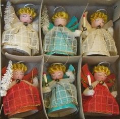 Vintage Shiny Brite Angels Christmas Chenille Flocked Ornaments