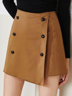 #AdoreWe #StyleWe Skirts - MASKED QUEEN Asymmetrical Cotton-blend Buttoned Casual A-line Mini Skirt - AdoreWe.net