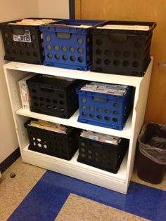 Counseling Corner: Office Organization Part 1 Crates inside storage cabinet? Diy Office Desk, Corner Office, Office Ideas, Desk Ideas, Social Work Offices, Desk Organization Tips, Counselor Office, School Counseling, Office Safety