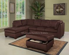 Nina 2-Piece Microsuede Sectional with Chaise Chocolate ($139) ? liked on Polyvore featuring home furniture sofas micro suede sofa chocolate bru2026 : brown suede sectional - Sectionals, Sofas & Couches