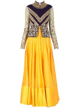 Aubergine and yellow peplum kalidaar kurta set available only at Pernia's Pop-Up Shop. gorgeous color combination. that yellow is to die for