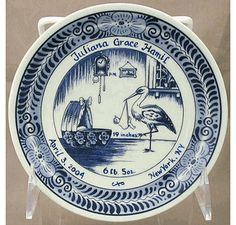 Personalized baby gift delft birth plate amazing to buy 6 delft blue birth plate negle Gallery