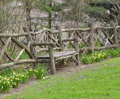 Best Rustic fence ideas on Rustic Arbor, Rustic Fence, Log Fence, Wood Fences, Rustic Gardens, Outdoor Gardens, Outdoor Projects, Garden Projects, Fence Design