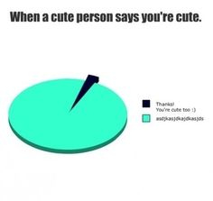 Pie chart: When a cute person says you're cute: Thanks! You're cute too. Funny Relatable Memes, Funny Posts, Funny Quotes, Stupid Funny, The Funny, Hilarious, Funny Pie Charts, Image Citation, Crush Memes