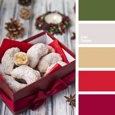 bright red colour, Christmas colours, colour of a green spruce, colour solution for a New Year, combination of shades of red and green, gray and brown, palette of New Year colours, red and gray