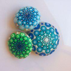 Dot Art Mandala Painted Stone Blue Gift by CreateAndCherish