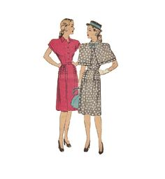 40s Hollywood Sewing Pattern Day Dress by AdeleBeeAnnPatterns, $23.00